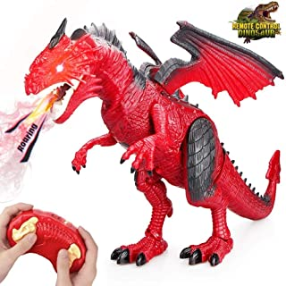 Remote Control Electronic Walking Dinosaur Toy Children RC Animal Toys w/ Simulation Roaring , Spraying Smoke , Shaking Head , Flapping Wings Functions ,Cool for Boys & Girls (Red)