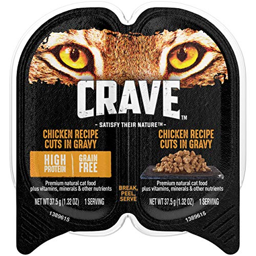 CRAVE Grain Free Adult High Protein Soft Wet Cat Food Chicken Recipe Cuts in Gravy, (24) 2.6 oz. Twin-Pack Trays