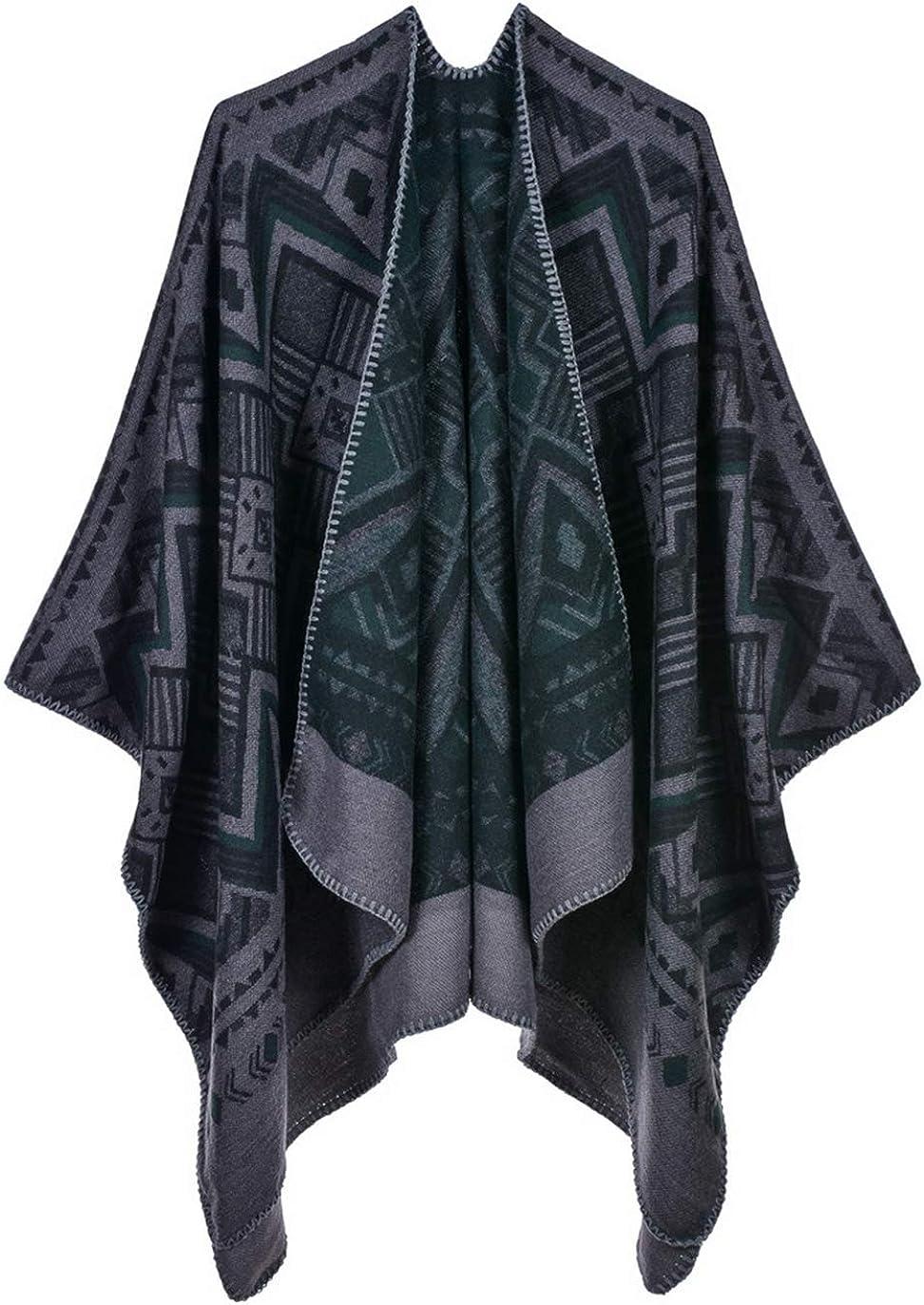 Idea Houses Women's Shawl Wrap Scarf Geometric Rhombus Lattice Thick Warm Poncho Cloak