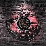 jiushixw Wish Christmas Movement Silent Font Wandkunst Uhr Schlitten Rentier Stadt Einweihungsparty Unique Bell