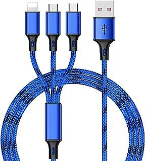 كابل USB للشحن السريع 3 في 1 بقوة 3 امبير وبطول 1 متر، مغطى بالنايلون يمكن استخدامه للعديد من الاجهزة مثل ايفون وسامسونج و...