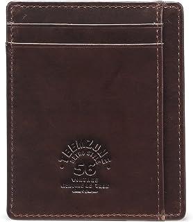 comprar comparacion Teemzone Delgado Cartera Tarjetero Hombre Piel RFID Protección Billetera Organizador de Tarjetas (Café Tarjetero)