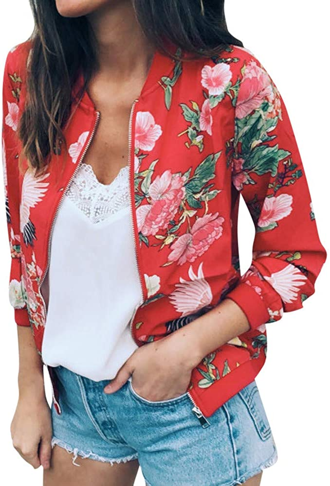 Changeshopping Coat for Women,Winter Retro Floral Zipper Up Bomber Jacket Casual Coat Outwear