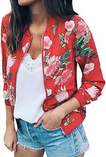 IEason Women Cardigans, Womens Ladies Retro Floral Zipper Up Bomber Jacket Casual Coat Outwear