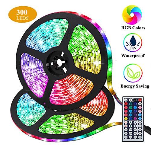 Preisvergleich Produktbild LED Streifen,  Targherle 10M / 33Ft LED Stripes RGB 5050 SMD 300 Led Bänder IP65 Wasserdicht mit 44Key Fernbedienung und Netzteil für Küche,  Bar,  Terrasse,  Party und ganzes Haus