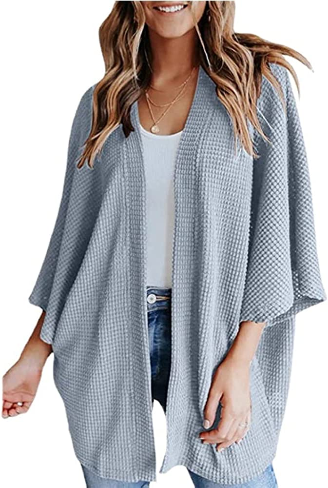 Women's Waffle Knit 3/4 Batwing Sleeve Cardigans Loose Open Front Draped Cover Up Outwears