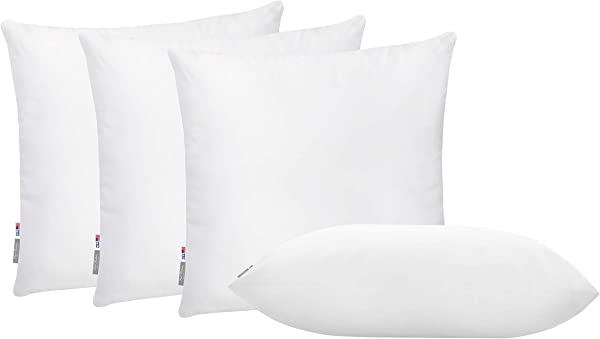 Pal Fabric Pack Of 4 Soft Microfiber White Square Pillow Insert For Sofa Form Cushion Sham Or Decorative Pillow Made In USA 18x18