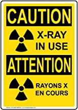 Caution X-Ray in Use [ English + French ] OSHA Safety Sign, 10x7 in. Aluminum for Medical Facility Hazmat by ComplianceSigns