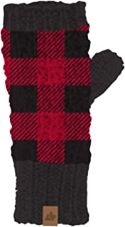 Great Northern Womens Red & Black Buffalo Plaid Fingerless Knit Gloves Tech Text