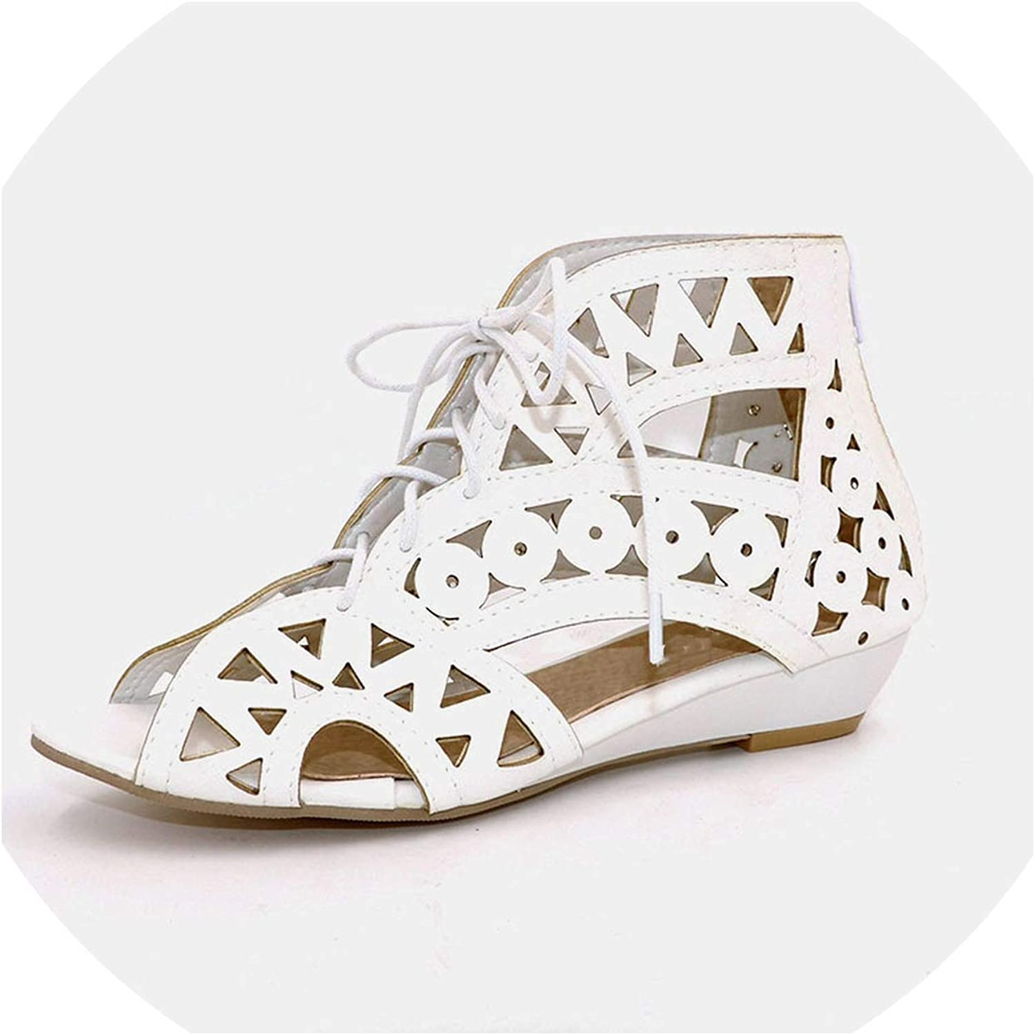 Cutouts Lace Up Women Sandals Open Toe Low Wedges Bohemian Summer shoes Beach shoes Women