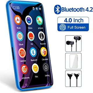 "TIMMKOO MP3 Player with Bluetooth, 4.0"" Full Touchscreen Mp4 Mp3 Player with Speaker, 8GB Portable HiFi Sound Mp3 Music Player with FM Radio, Voice Recorder, E-Book, Supports up to 128GB TF Card Blue"