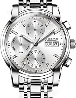 Aesop Top Brand Luxury Men Day Date Analog Automatic Self Winding Mechanical Wrist Watch with Steel Band Luminous Silver White