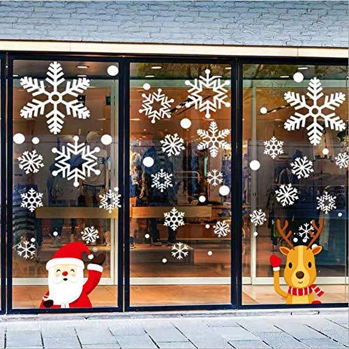 Ambolio 243 Pegatinas Navidad Ventanas,Pegatinas de Navidad para Escaparates,DIY Copo De Nieve Alce Decoración,Pegatina Copo de Nieve Navidad,Copos de Nieve Pegatinas.(Papá Noel)