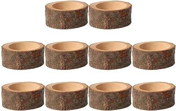 KESYOO 10pcs Wooden Tealight Candle Holder Table Candlestick Centerpiece Multifunctional Napkin Holder Mini Succulent Plan...