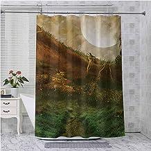 Cortinas de ducha Aishare Store, exquisito valle con paisaje de fantasía encantado de cielo de luna llena, 177 cm de larg...