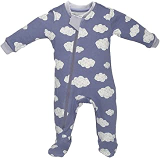 ZippyJamz Organic Baby Footed Sleeper Pajamas with Inseam Zipper for Quicker and Easier Diaper Changes