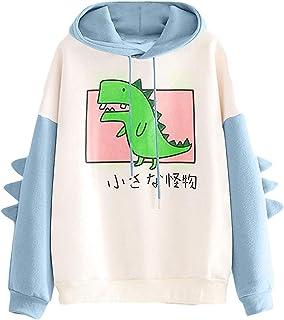 Sudadera con capucha y diseño de dinosaurios para mujer, de manga larga, con capucha Kawaii Dino