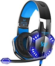 ZANTEC Gaming Headset for Music Headphones,3.5 mm Gaming Headset Mic LED Stereo Surround Headphones for PS3 PS4 360 Black Blue