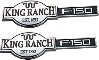 2pcs King Ranch F150 3D Emblems Badges Nameplate Door Tailgate Replacement for F-150 Chrome