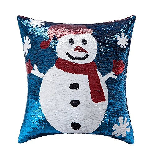 Snowman Reversible Sequins Christmas Decorative Pillow Cover