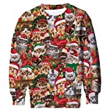 Teen Boys Girls Funny Christmas Sweatshirts Xmas Party Jumper Cats Pullover Sweater Long Sleeve Graphic Tee Shirts Top Blosue Hoodies Fall Winter Jackets Size 13/16T