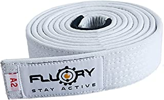 FLUORY BJJ Belt, Brazilian Jiu Jitsu Belts with Color White, Purple, Blue, Brown, Black for Size A0, A1, A2, A3, A4.