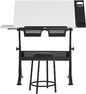 Studio Designs Fusion Craft Station, en MÉTAL, Charbon de Bois Noir/Blanc, 122x 61x 90cm