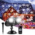 ALOVECO Christmas Projector Lights Outdoor, Moving LED Snowflake Snowfall Projection Lamp with Remote, Waterproof LED Projector Decorative Landscape Lighting for Christmas Holiday Party Birthday Gift