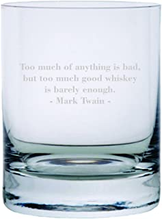 Mark Twain Quote Etched 11oz Stolzle New York Crystal Rocks Glass