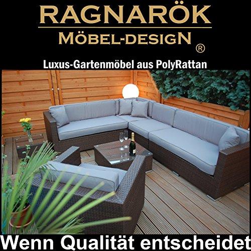 Ragnarök-Möbeldesign PolyRattan Lounge DEUTSCHE Marke - EIGNENE Produktion - 8 Jahre GARANTIE auf UV-Beständigkeit - Garten Möbel Glas Polster braun Gartenmöbel Aluminium Sofa Sessel grau