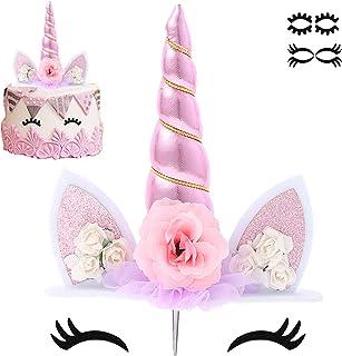 کیک تک شاخ Topper کیک صورتی شاخ کیک تک شاخ تزیینات جشن تولدت مبارک وسایل تزئینی جشن تزئین رنگارنگ کیک رنگی قابل استفاده مجدد با مژه و پشته برای دختران دختر بچه ، 5.8 اینچ