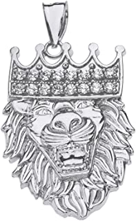 925 Sterling Silver Crown Lion King Head Pendant with Cubic Zirconia