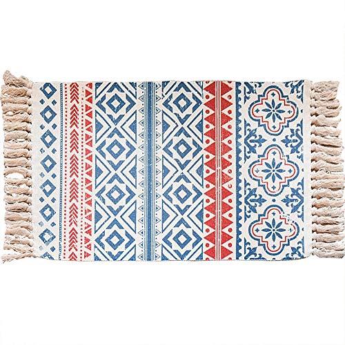 Yonphy Alfombra decorativa retro con borlas de algodón lavable para puerta de entrada, cocina, sótano, sala de estar, etc. 60 x 90 cm