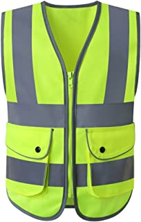 JKSafety Class 2 High Visibility Zipper Front Kids Safety Vest With Reflective Strips, Yellow Meets ANSI/ISEA Standards (Kid-Medium)