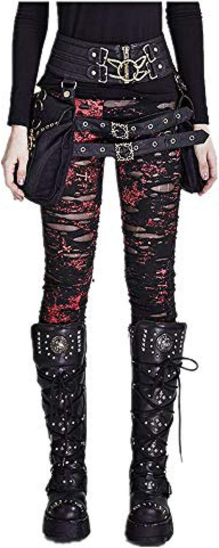 Punk Rave Women Pants Ripped Leggings Gothic Tattered Broken Close-Fitting Mesh Leggings
