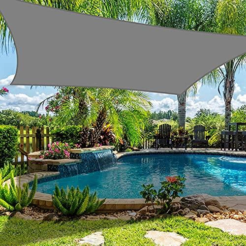 Dioxide Toldo Vela de Sombra Cuadrado Protección Rayos UV, Resistente Impermeable para Patio, Exteriores, Jardín, 2×3m Gris