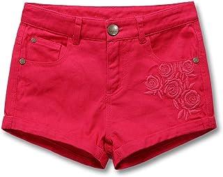 HOLIBEE Girls Skimmer Brushed Shorty Shorts Summer Classic Bermuda Stretch Backpocket Embroidery 6-12