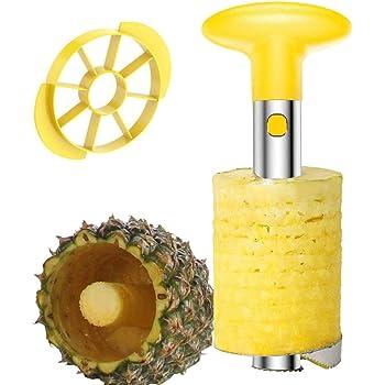 Affetta Ananas Taglia, Ananas Affettatrice in acciaio INOX, Strumento per sbucciare ananas e per rimuoverne il torsolo Include Affettatrice Staccabile