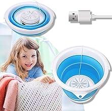 Portable Mini Washing Machine,CAMTOA Folding Turbo Washer Lightweight Travel Ultrasonic Turbine USB Powered Laundry Tub fo...