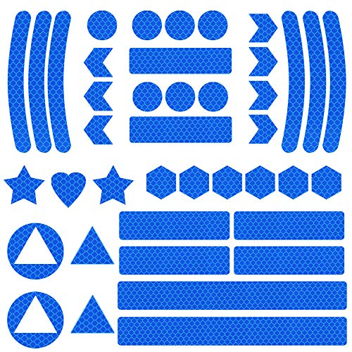 Mitening Reflektoren Aufkleber Sticker, Reflektor Sticker Fahrrad, Reflektor Aufkleber Set, Reflexfolie selbstklebend, Reflektierende Aufkleber für Kinderwagen Fahrrad und Helme (Blau)