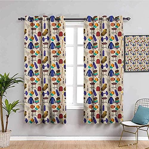 Azbza Cortinas opacas para sala de estar, diseño de dibujos animados, 90% opacas con impresión 3D para niñas y niños, ventana de dormitorio, 94 x 94 pulgadas, filtro de luz, protección de privacidad