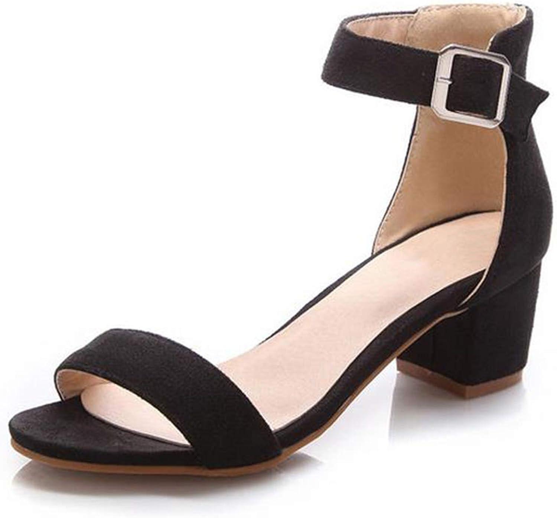 Houfeoans Women High Heel Sandals Women Open Peep Toe shoes Womens Lady Suede Leather shoes Size 34-43