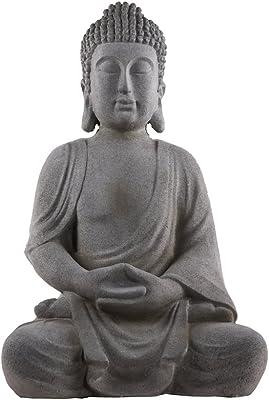 Urban Trends Fiberstone Meditating Buddha Figurine with Rounded Ushnisha in Dhyana Mudra Limestone Finish Gray, Gray