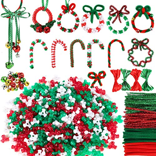 Caydo 700PCS Christmas Beads Sets, Including 150 PCS Pipe Cleaner, 500PCS Tri-Shaped Beads Plastic Tri Beads, 50PCS Mixed Xmas Color Jingle Bell and 4PCS Ribbons for Christmas Party DIY Craft Supplies
