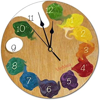 VinMea Wall Clock,Artist`S Palette Color Wheel with Numbers,Silent, no Ticking, Home Decoration, 11.8x11.8 inches
