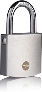 Yale Y120B/50/127/1- Brass Padlock with Chrome Finish (50 mm) - Outdoor Lock for Shed, Gate, Chain, Door - 3 Keys - High S...