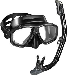 NACATIN Gafas de Buceo a Prueba de Fugas, Set de Snorkel Plegable de Silicona Suave de Grado Alimenticio, Máscara de Esnórquel de 180° Vistas Panorámicas para Adolescentes y Adultos (Negro)