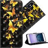COTDINFORPara iPhone 5S FundaProtectoraEfecto3DPintadadePielPremiumPUFlipShellconMagnéticoCierreTitulardelaTarjetaalosparaiPhone 5 / 5S / SE Golden Butterflies YX.