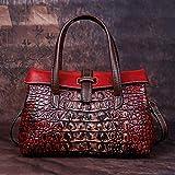 Heqianqian - Bolso de mano con cierre de seguridad, estilo vintage, asa superior, con compartimentos, para mujer, de piel, ajustable, para hombro, diseño de mensajero, piel sintética, Rojo, 27x17x11cm