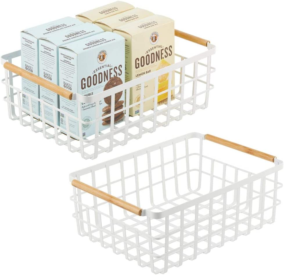 mDesign panier de rangement pratique denr/ées alimentaires 40,6 cm x 30,5 cm x 15,2 cm panier en m/étal pour cuisine ou garde-manger panier rangement polyvalent pour ustensiles blanc mat etc